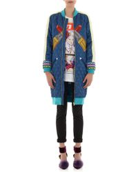 House of Holland - Embroidered Quilted Satin Coat - Lyst