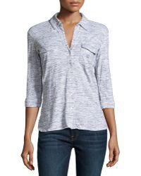 James Perse Slub Knit Button-up Shirt - Lyst
