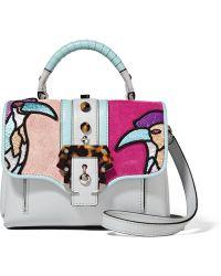Paula Cademartori - Dun Dun Mini Appliquéd Leather And Suede Shoulder Bag - Lyst