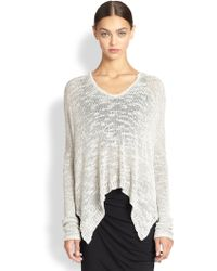 Helmut Lang Draped Silk Slub Knit Sweater - Lyst