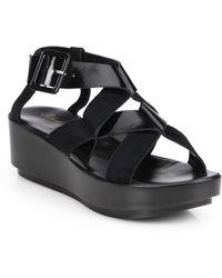 Robert Clergerie Leather & Suede Platform Sandals - Lyst