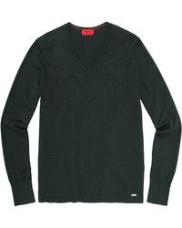HUGO Cotton Blend Jumper 'Sorinus' - Green