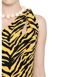 Boutique Moschino Tiger Printed Crepe Jersey Bodysuit - Yellow
