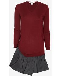Carven Contrast Flare Sweater Dress - Lyst