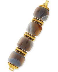 Jose & Maria Barrera - 24k Gold Plated Gray Stone Bracelet - Lyst
