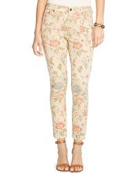 Pink Pony - Lauren Floral Print Skinny Jeans In Light Tan Multi - Lyst