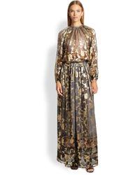 Etro Metallic Silk Maxi Skirt - Lyst