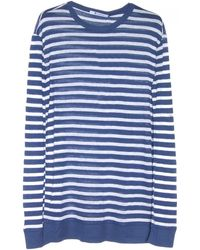 T By Alexander Wang Navy and White Stripe Linen Long Sleeve Tee - Lyst