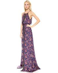 Veronica Beard Floral Batik Print Lace Trimmed Gown Plum Multi - Lyst