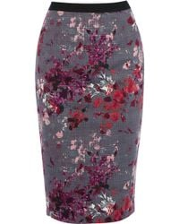 Oasis Painterly Floral Pencil Skirt - Lyst