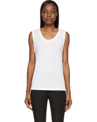 T By Alexander Wang White Distressed Jersey Tank - Lyst
