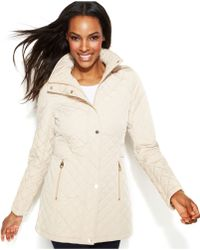 Calvin Klein Petite Hooded Quilted Jacket - Lyst