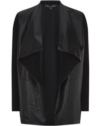 Ralph Lauren Black Label Leather Front Draped Cardigan - Lyst