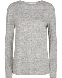 T By Alexander Wang Linen Long Sleeve Tee - Lyst