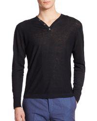 Kent And Curwen Fine-Gauge Henley Sweater black - Lyst