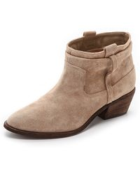 Joie Ajax Suede Booties - Putty - Lyst