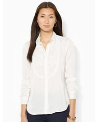 Lauren by Ralph Lauren White Floral-lace Shirt - Lyst