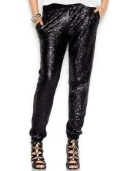 Guess Drawstring Sequined Soft Pants - Lyst