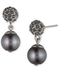 Anne Klein Grey Faux Pearl Drop Earrings - Metallic