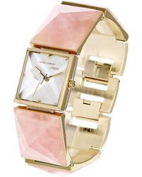 Vince Camuto Ladies Gold Tone And Pyramid Stone Bracelet Watch - Pink