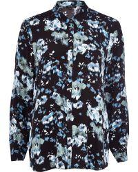 River Island Black Floral Long Sleeve Shirt - Lyst