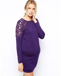 Asos Maternity Knitted Dress With Lace Insert - Lyst