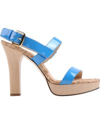 D&G Blue Platform Sandals - Lyst