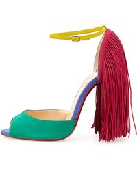 Christian Louboutin Otrot Suede Sandal with Fringe - Lyst