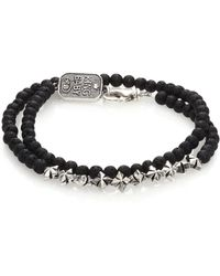 King Baby Studio Double-Wrap Lava Rock Bracelet black - Lyst