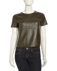 Sachin & Babi Sachin Babi Boxy Leather Woven Top Olive 12 - Lyst