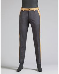 Dolce & Gabbana | Cotton Trousers With Contrast Details | Lyst