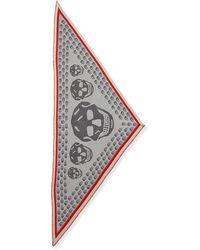 Alexander McQueen Ribbon-border Triangular Skull Scarf - Lyst