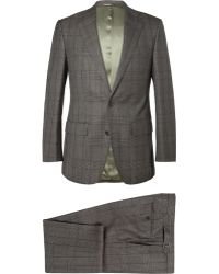 Thom Sweeney Brown Prince Of Wales Check Wool Threepiece Suit - Lyst