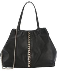 Valentino Black Leather Studded Detail Large Convertible Tote Bag - Lyst
