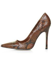 Topshop Gallop Snake-Effect Court Shoes - Lyst