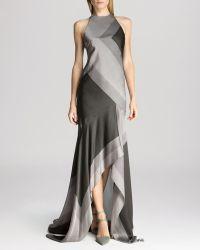Halston Heritage Gown - Sleeveless Asymmetric Scarf Print Silk - Lyst
