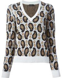 Joseph Paisley Jacquard V-Neck Sweater - Lyst