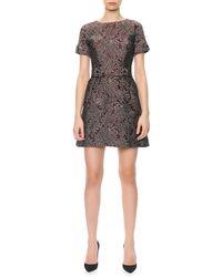 Dolce & Gabbana Short Sleeve Metallic Jacquard Dress with Crystal Buttons - Lyst