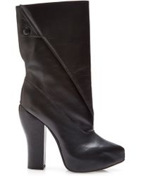 Carven Fold-over Leather Boots - Lyst