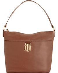 Tommy Hilfiger Th Monogram Leather Bucket Bag - Brown