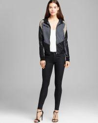 Blank Jacket - Color Block Faux Leather - Black