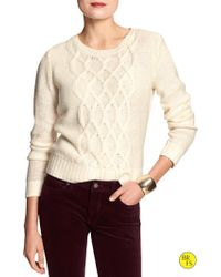 Banana Republic Factory Cable Knit Sweater - Lyst