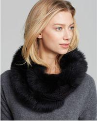 Surell Knit Infinity Loop With Fox Fur Trim - Black