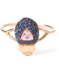 Daniela Villegas Sapphire Beetle Ring - Blue