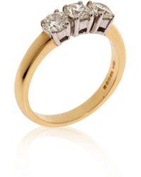 Kojis - Yellow Gold Three Diamond Ring - Lyst