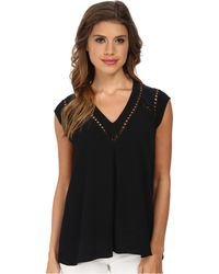 Rebecca Taylor Sleeveless V-Neck Top With Trim - Lyst