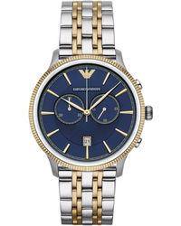 Emporio Armani Two-Toned Round Stainless Steel Watch silver - Lyst