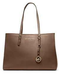Michael Kors Jet Set Travel Saffiano Leather Tote brown - Lyst