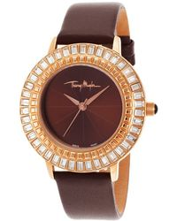 Thierry Mugler Womens Brown Genuine Leather Brown Dial - Lyst