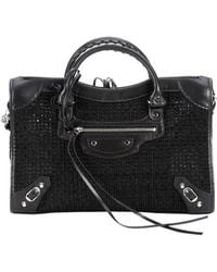Balenciaga Black Leather And Nylon Mesh Convertible Top Handle Tote - Lyst